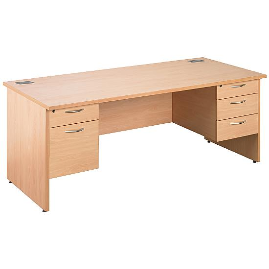 Next Day Eco Panel End Rectangular Desks With Double Fixed Pedestals - Office Desk Ranges