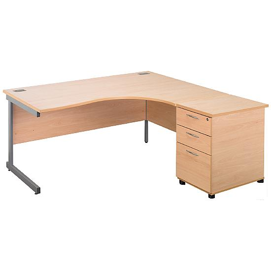 Cantilever Ergonomic Desks With Desk End Ped