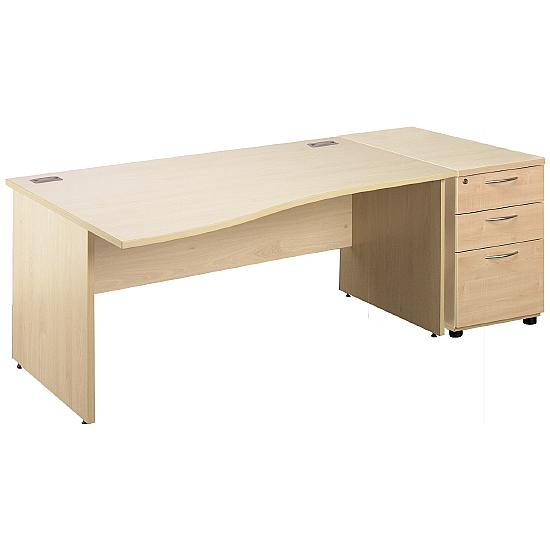 Panel End Wave Desks With Desk High Mobile Ped