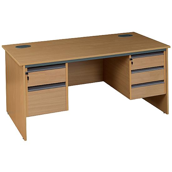 Panel End Desk With Double Fixed Pedestals