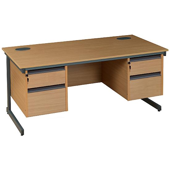 Rectangular Cantilever Desk With Double Fixed Ped