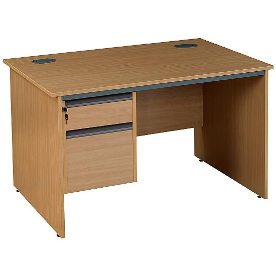 Next Day Pinnacle Plus Rectangular Panel End Desk With fixed Pedestal - Office Desk Ranges