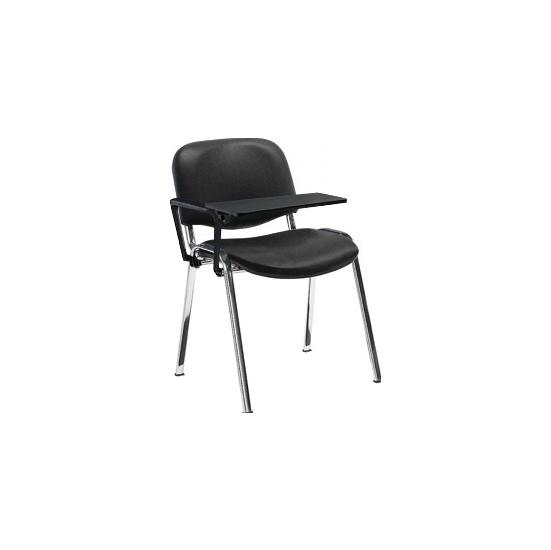 Fleet Vinyl Chrome Frame Visitor chair with Writing Tablet (Pack of 4 Chairs) - Office Chairs