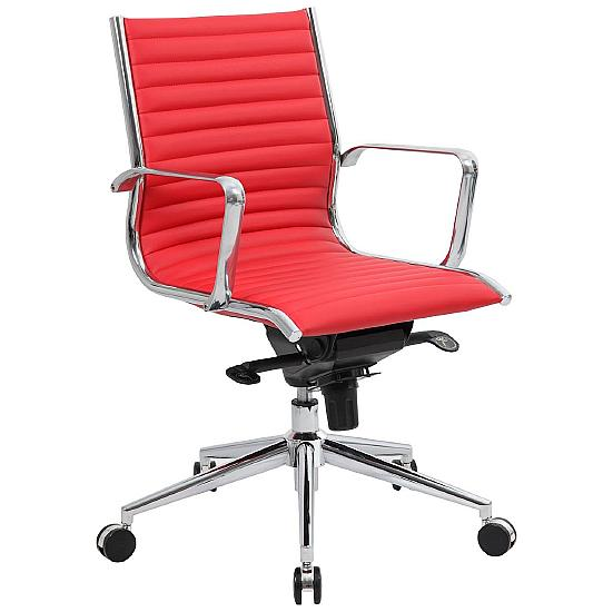 Dura Medium Back Red Leather Office Chairs - Office Chairs