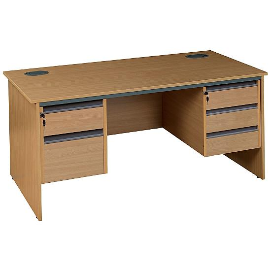 Pinnacle Rectangular Panel End Desk With Double Fixed Pedestals - Office Desk Ranges