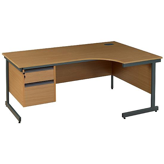 Pinnacle Ergonomic Cantilever Desk With Fixed Pedestal - Office Desk Ranges