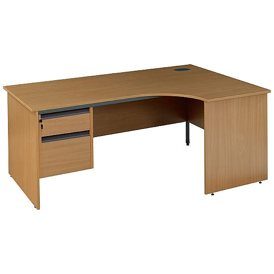Pinnacle Ergonomic Panel End Desk With Fixed Pedestal - Office Desk Ranges