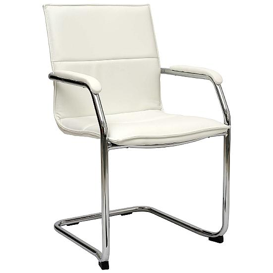 Essence White Leather Visitor Chair (Pack of 2) - Office Chairs