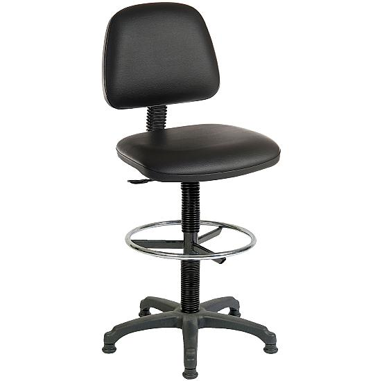 Ergo Leather Faced Draughtsman Chair - Office Chairs